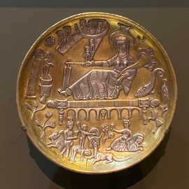 Gilded silver dish with mythological scenes. Eastern Iran, Sasanian period 5th to 6th century CE