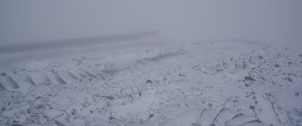 Snowdon summit in the snow
