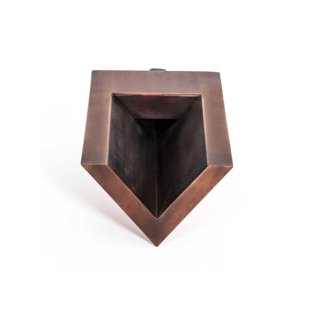 V-Shaped Scupper - front - Patina Copper