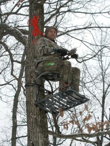 The Outdoors Guy in a stand set in August for a November Hunt