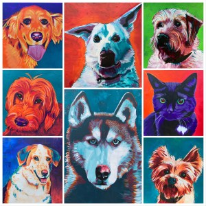 collage of pet portrait paintings