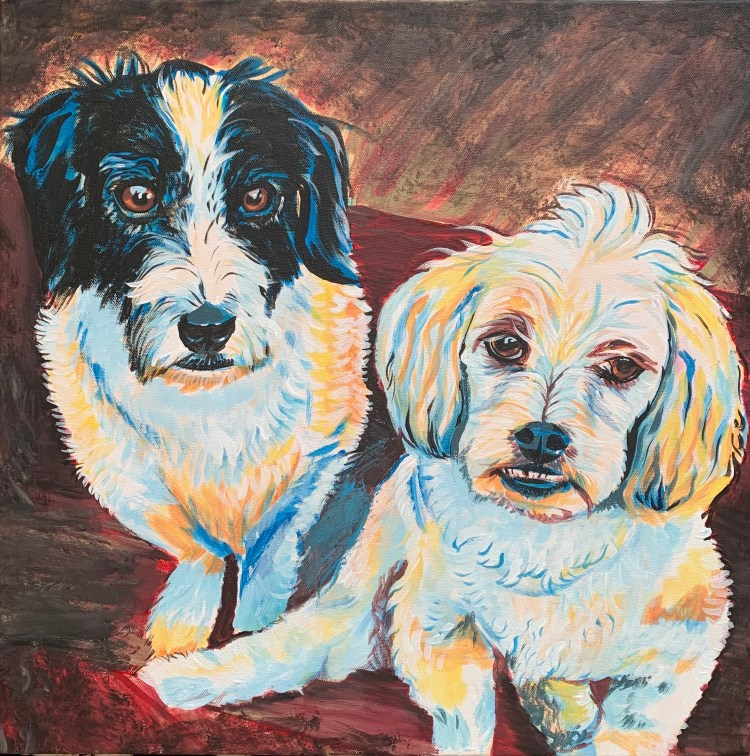 Pet portrait with two dogs