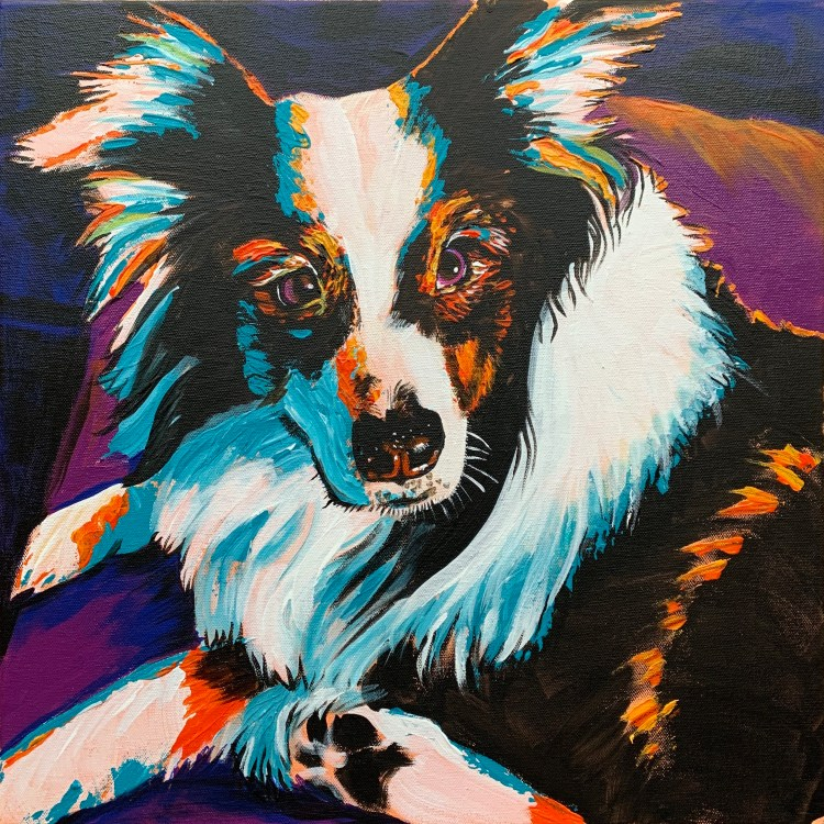Finished Dog portrait painting