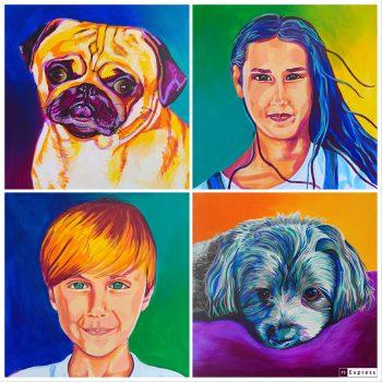 4 colorful portrait paintings