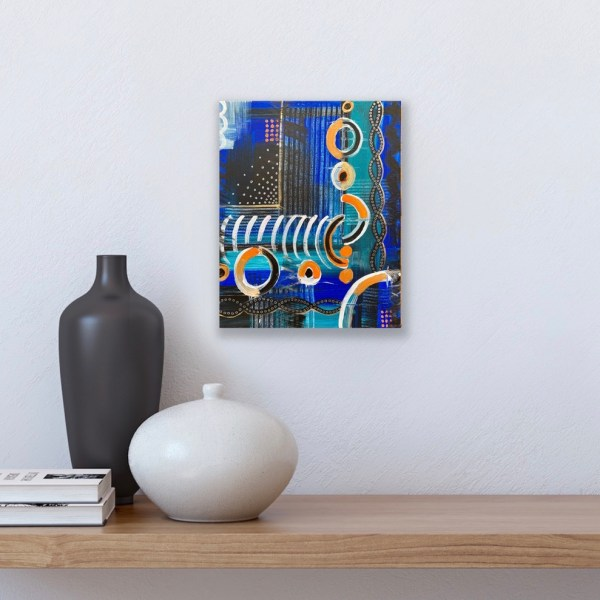 """Preview of 11"""" x 14"""" abstract painting above shelf"""