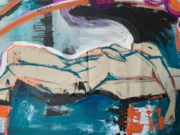 mixed media abstract art closeup