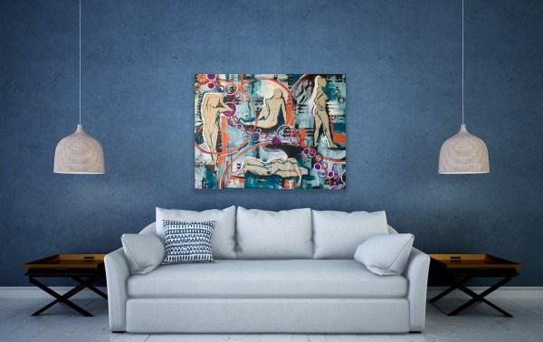 mixed media abstract art above sofa