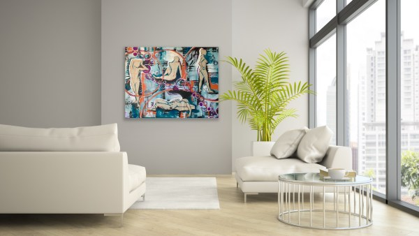 mixed media abstract art in sitting room