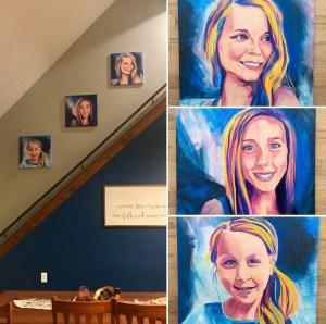 3 piece family portrait painting set