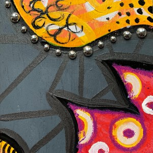 colorful wood block wall art painting