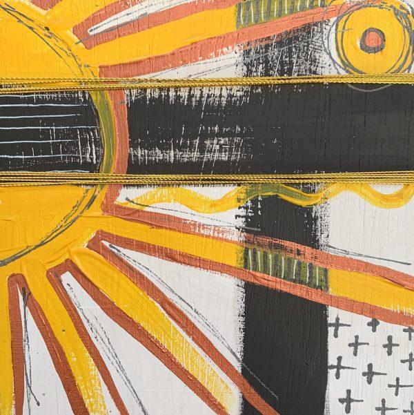 sunny yellow and black abstract wood block wall art
