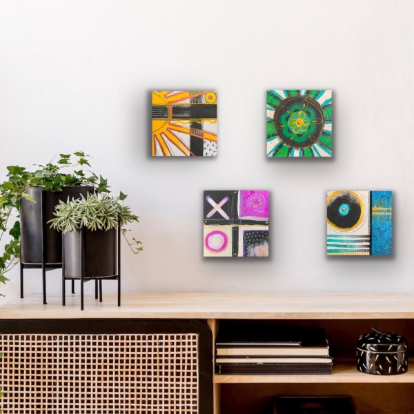 wood block wall art collage
