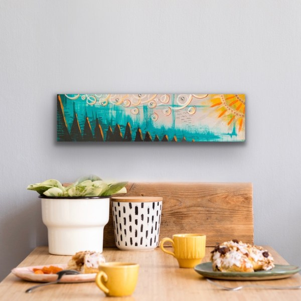 abstract landscape painted wood block wall art above table