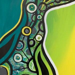 large abstract wood block wall art
