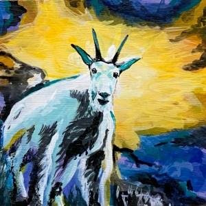 mini mountain goat painting on wood