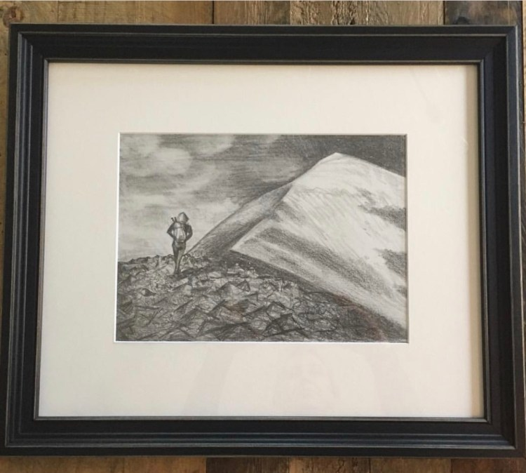Quandary Peak hike drawing - custom mountain art