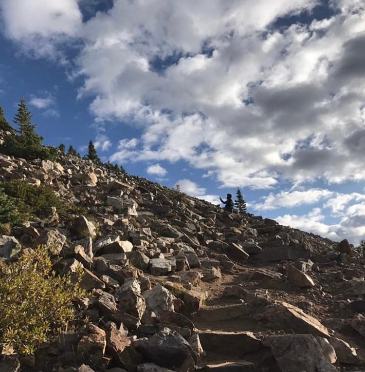 Quandary Peak hike  - switchbacks up rocky stairway