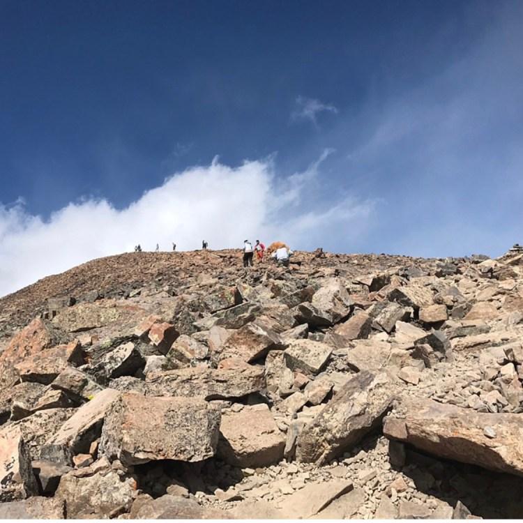 Looking up toward false peak on  final ascent of Quandary Peak hike