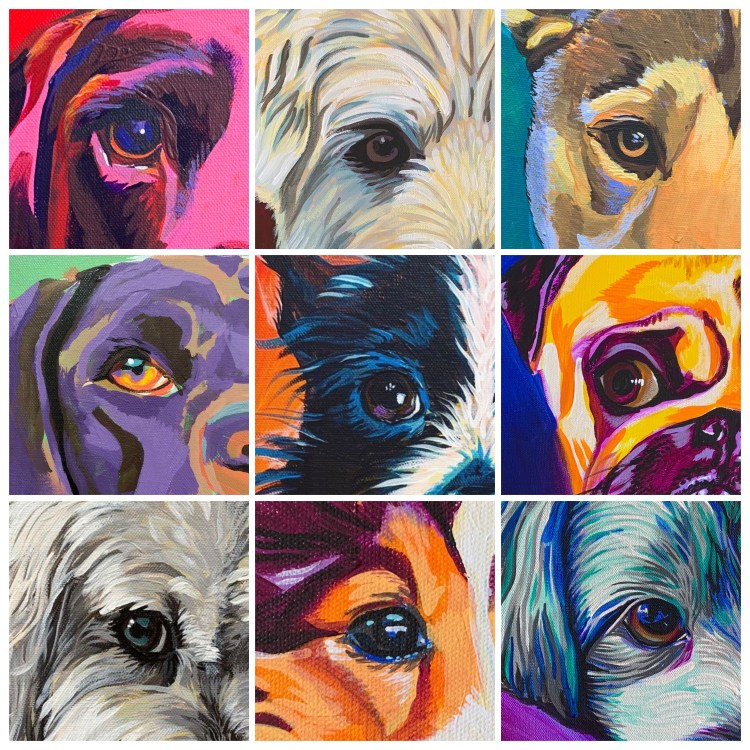 pet portrait painting tips: 9 examples of eye painting detail when choosing which features to emphasize in the painting