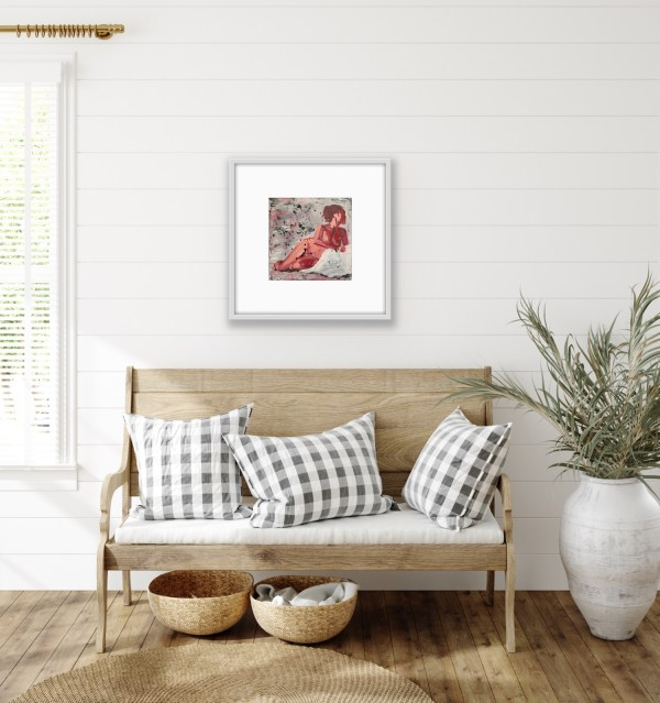 framed figure painting above foyer bench