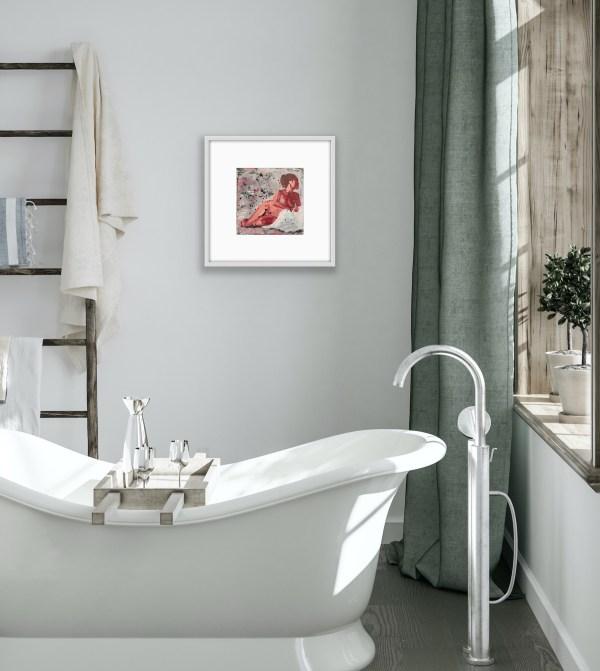 framed figure painting by bathtub