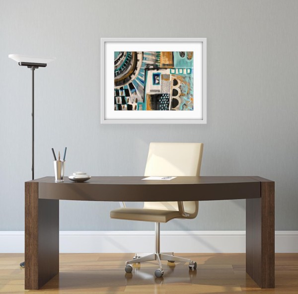 framed abstract painting in office