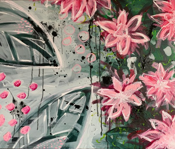 floral abstract art on canvas