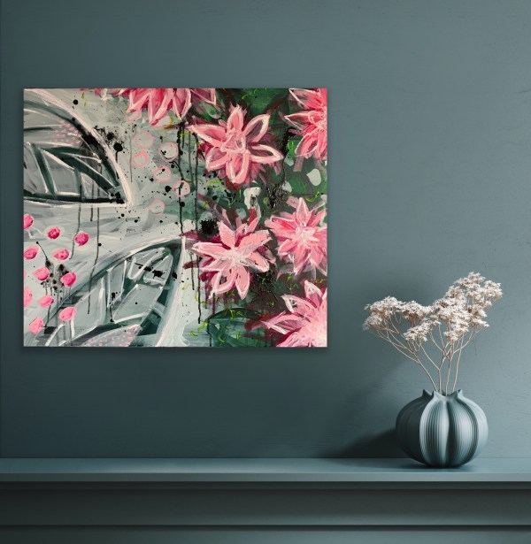 abstract floral painting on mantle