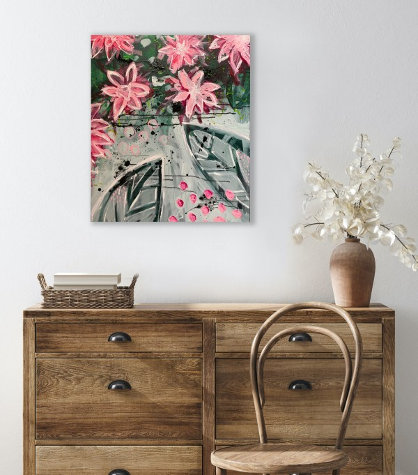 abstract floral painting above dresser