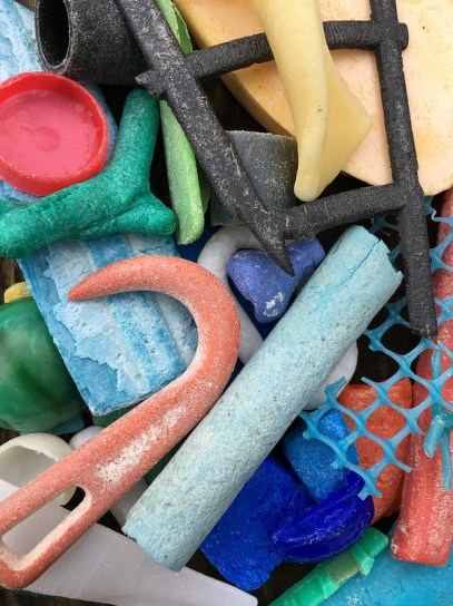 A rainbow of marine debris; anybody know what that red hook is?