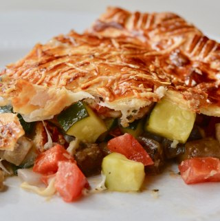 Vegetable pie with cheese. Amazing and easy to make ahead. Perfect for when vegetarians come to dinner.