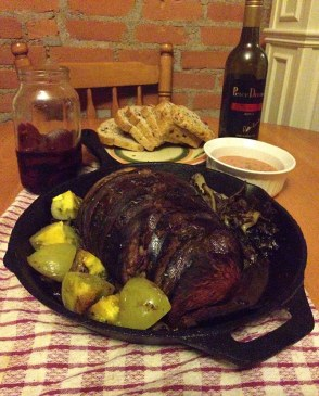 Stuffed moose heart with green tomatoes, braised chard and fennel, photo courtesy of the author