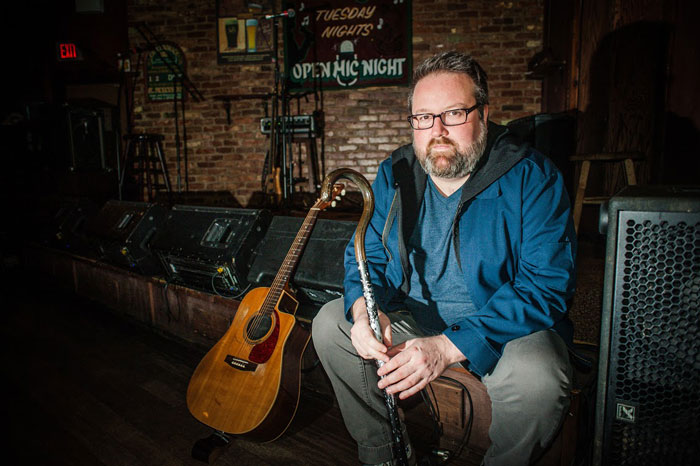"""MusicNL's """"Male Artist of the Year"""" plays through the joint pain and swelling of psoriatic arthritis. (Photo by Joel Upshall for The Overcast)."""