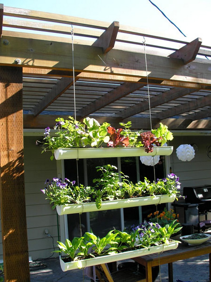 DIY Hanging Gutter Garden | The Owner-Builder Network on Diy Small Patio Ideas id=41512