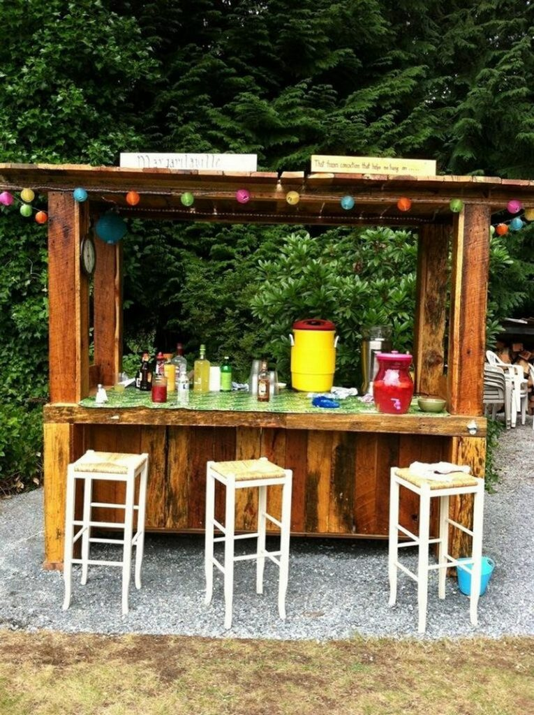 DIY Pallet Outdoor Bar and Stools | The Owner-Builder Network on Small Backyard Bar Ideas id=43820