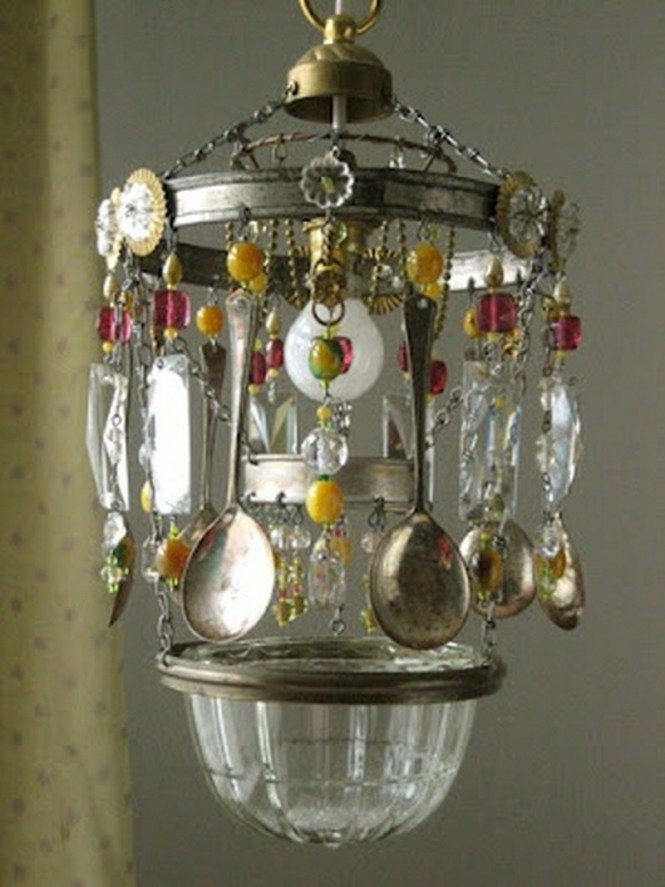 Repurposed Cutlery Chandelier Made From Old Spoons
