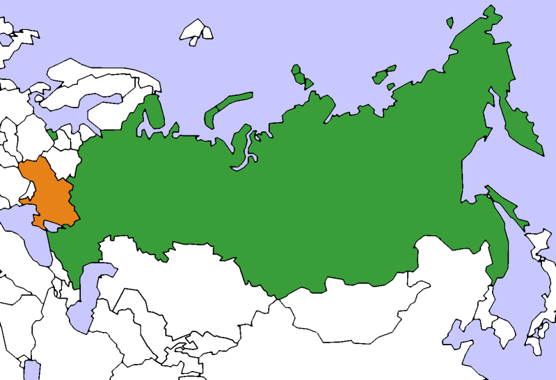 A simple map showing Russia (in green) and Ukraine (in orange).