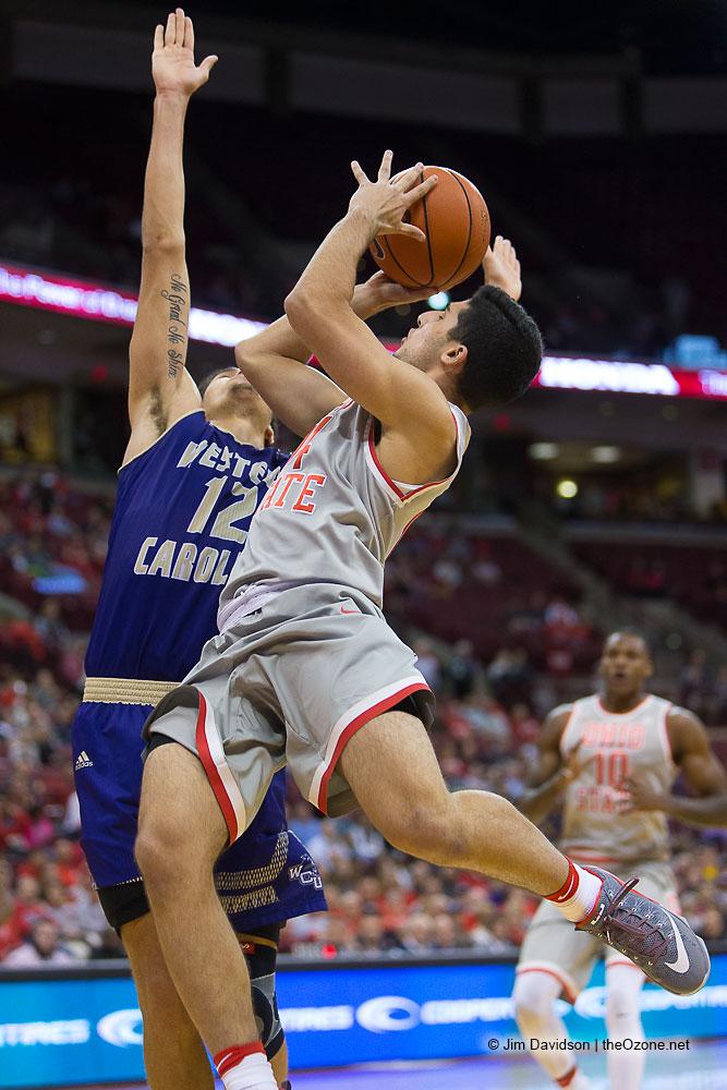 Joey Lane drives to the basket