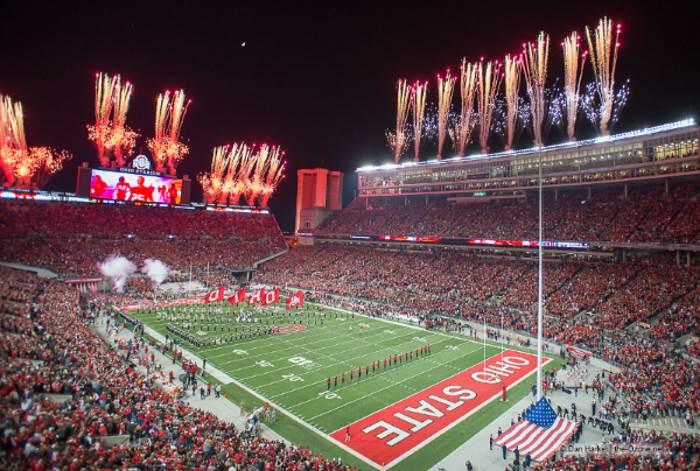 Ohio Stadium awaits the entrance of the Buckeyes