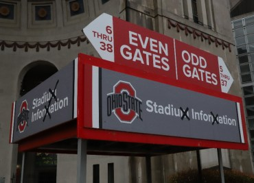 Crossed Out M Ohio Stadium