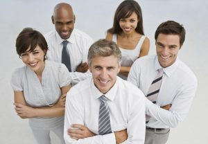 Closeup of a happy businesspeople looking at camera