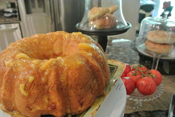 glazed peach cake thepaintedapron.com