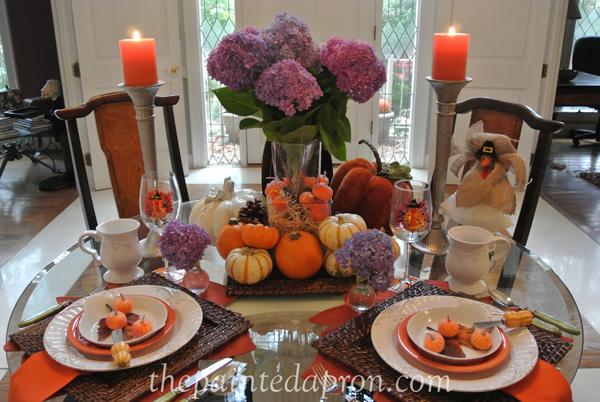 hydrangeas pumpkins and pasta table thepaintedapron.com