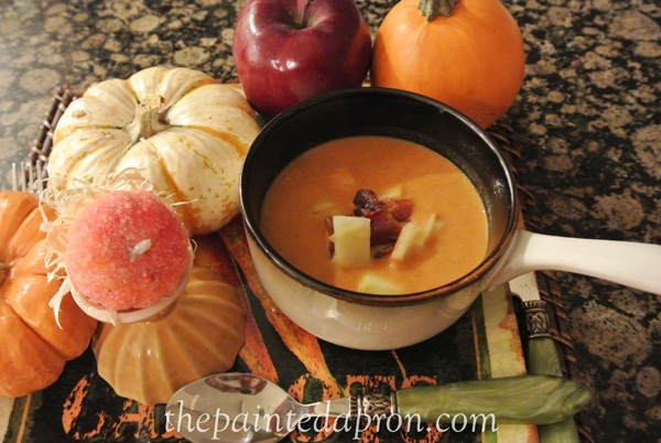 pumpkin and apple soup with bacon thepaintedapron.com