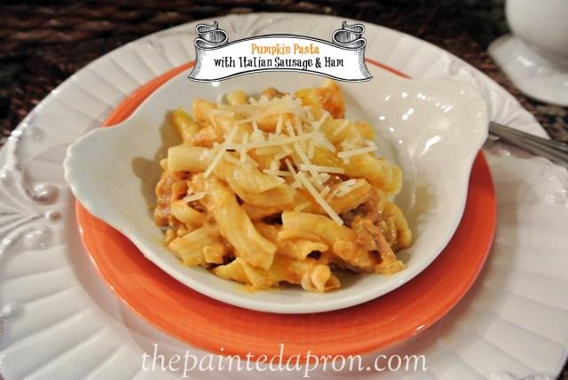 pumpkin pasta with Italian sausage thepaintedapron.com