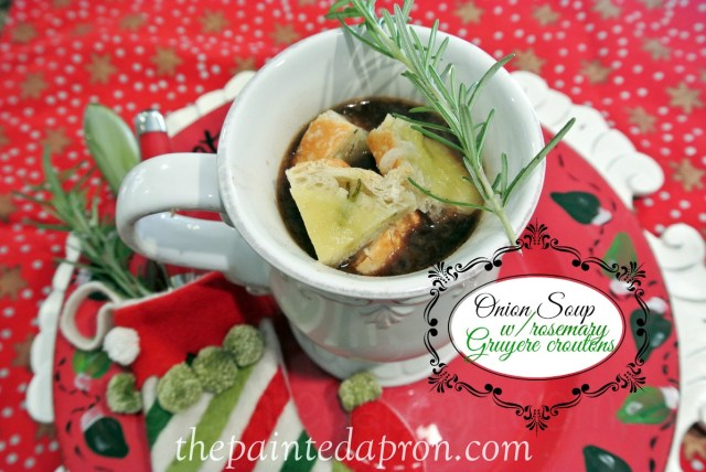 onion soup with rosemary croutons thepaintedapron.com