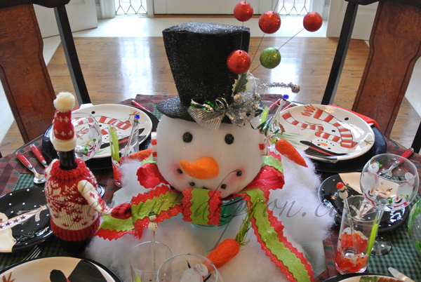 snowman table thepaintedapron.
