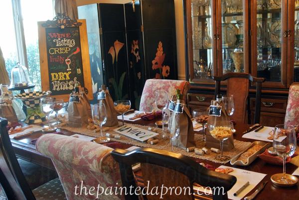 wine tasting table thepaintedapron.com