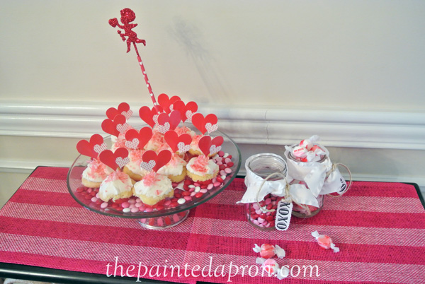 Valentine candy and cupcakes thepaintedapron.com