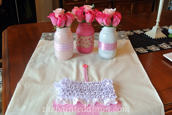 birthday banner and pink jars thepaintedapron.com